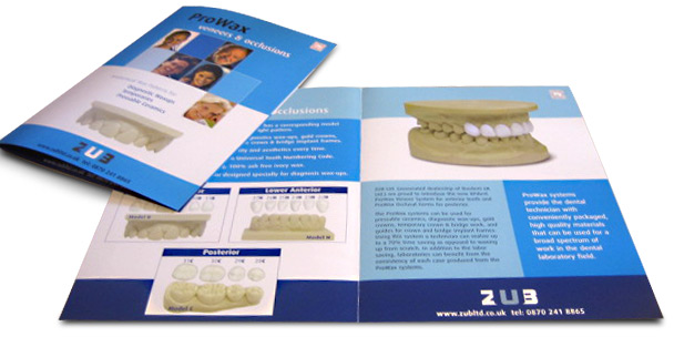 ZUB Dental Laboratory leaflet design by Creative Heights